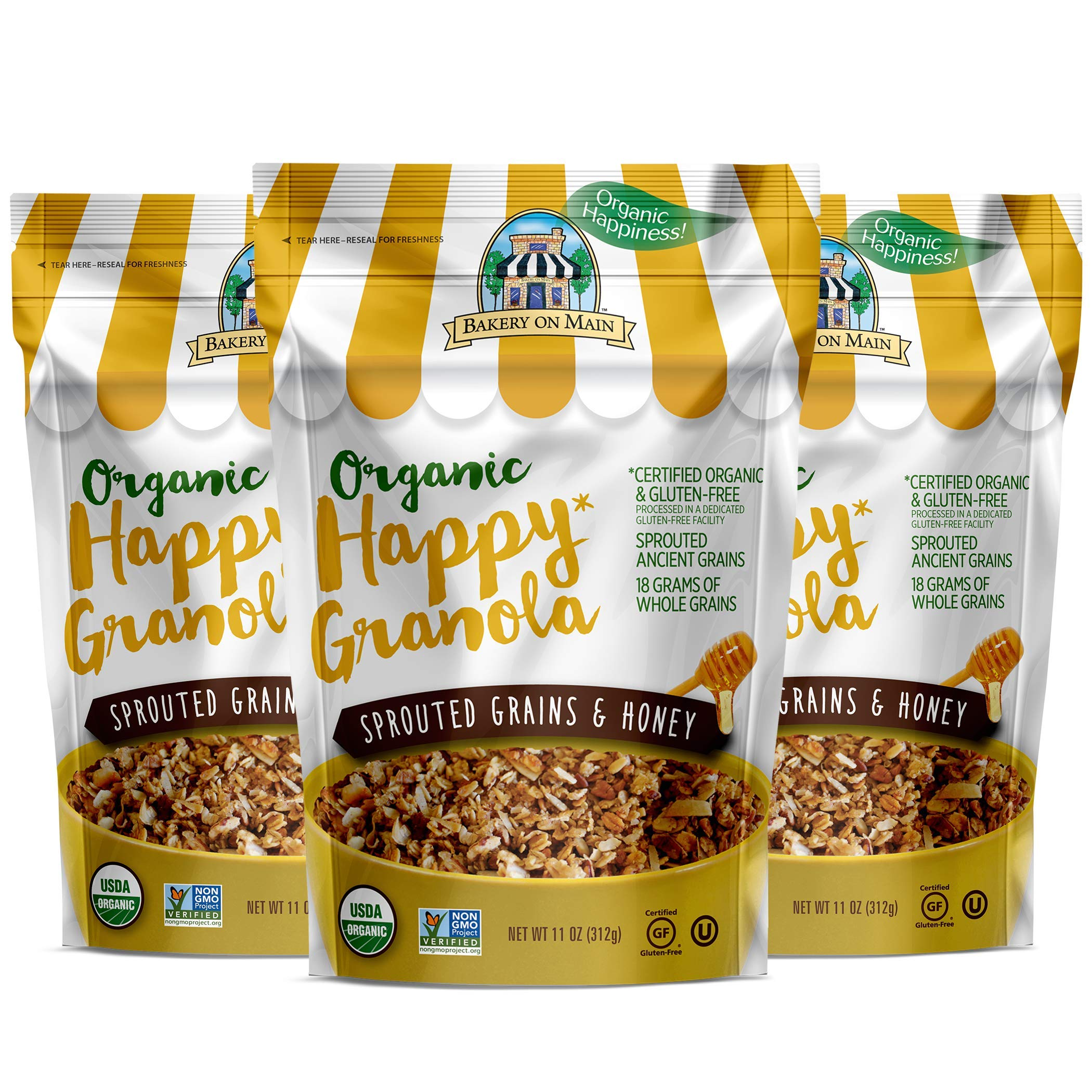 Bakery On Main Gluten-Free, Organic Happy Granola, Sprouted Grains & Honey, 11 Ounce Bag (3 Count) by Bakery On Main