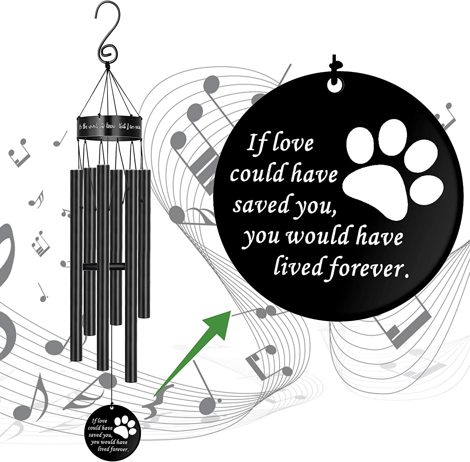 Pet Memorial Wind Chimes for Loss of Dog Paw Print Sympathy Gift for Friend Large Deep Tone Windchimes Dog Rememberance Déco Outside Outdoor Indoor Garden Yard Porch Patio If Love Could Have Saved You