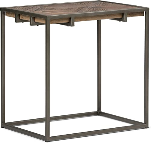 Simpli Home Avery Solid Aged Elm Wood and Metal 14 inch wide Rectangle Modern Industrial Narrow End Side Table