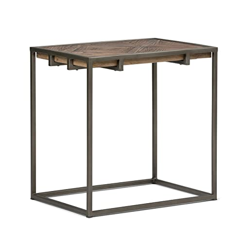 Simpli Home AXCAVY-04 Avery Solid Aged Elm Wood and Metal 14 inch Wide Rectangle Modern Industrial Narrow End Table in Distressed Java Brown Wood Inlay