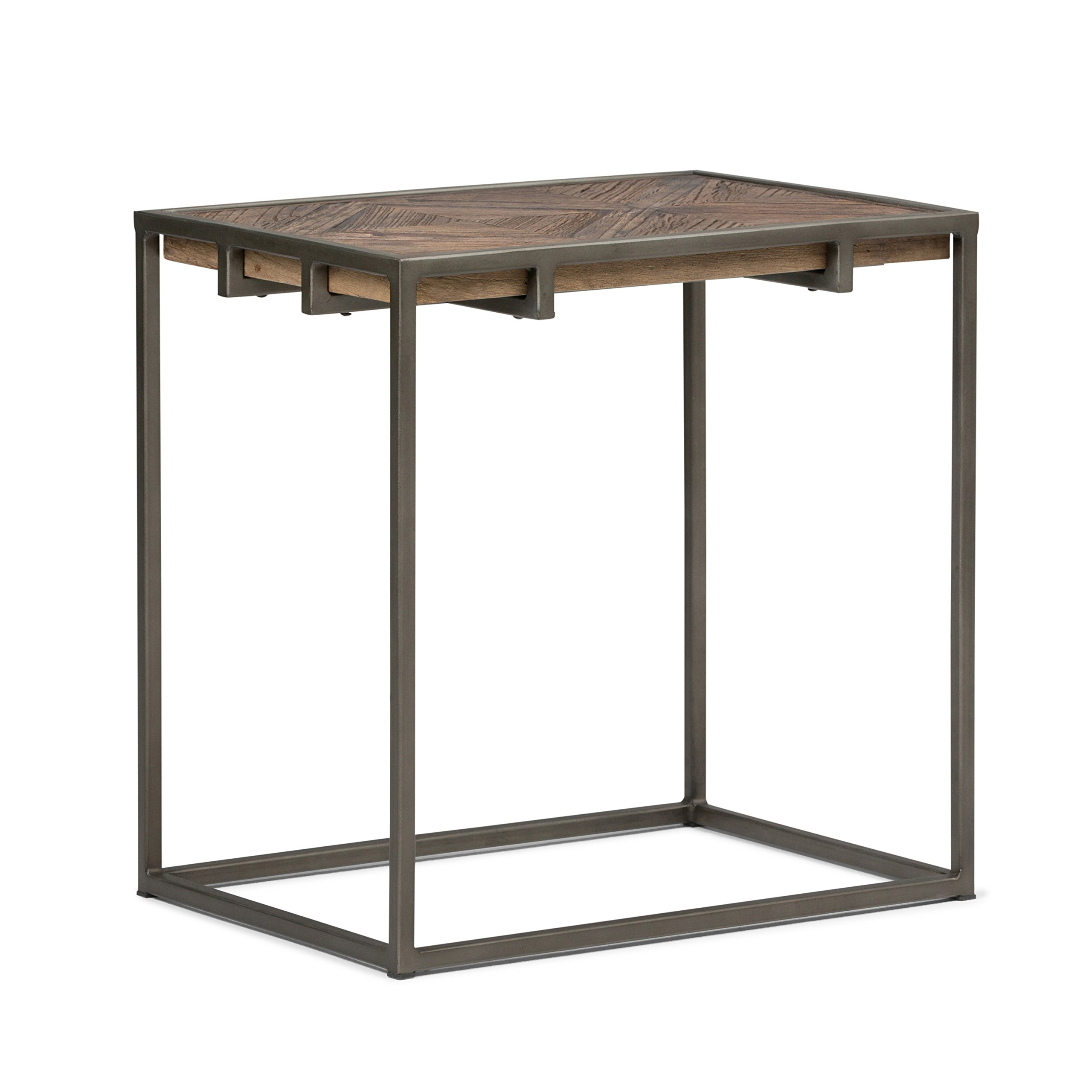 Simpli Home Axcavy 04 Avery Solid Aged Elm Wood And Metal