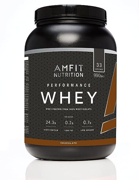 Marca Amazon - Amfit Nutrition Performance Proteína Whey de suero de leche (100% aislados