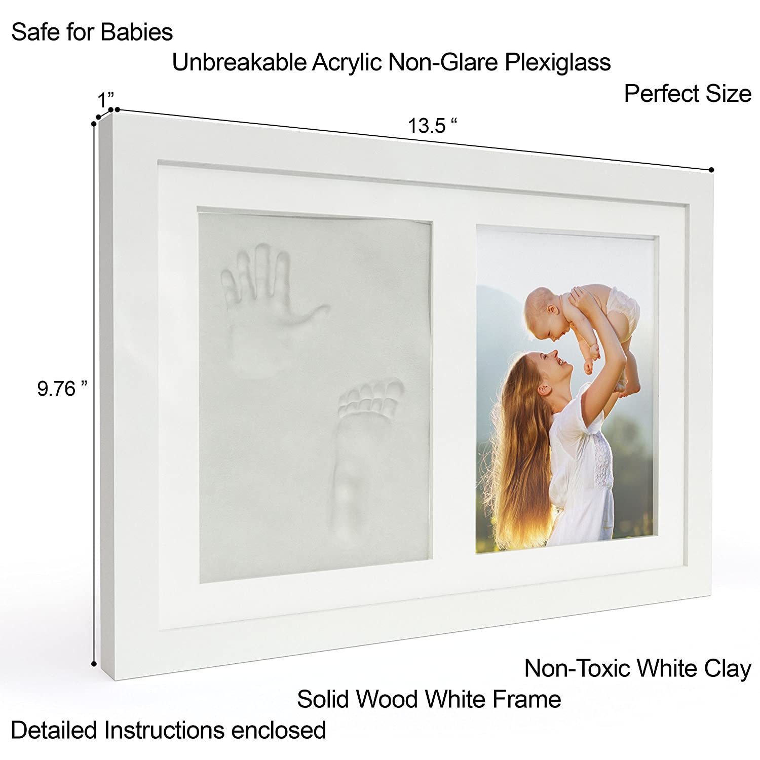 Amazon newborn baby handprint and footprint keepsake photo amazon newborn baby handprint and footprint keepsake photo frame kit girl boy and white photo mats all included perfect for baby shower gifts jeuxipadfo Gallery