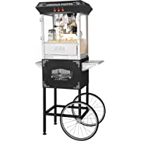 Great Northern Black Antique Style Lincoln Popcorn Popper Machine with Cart (8 Oz )