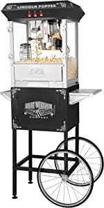 6005 Great Northern Black Antique Style Lincoln Popcorn Popper Machine w/Cart