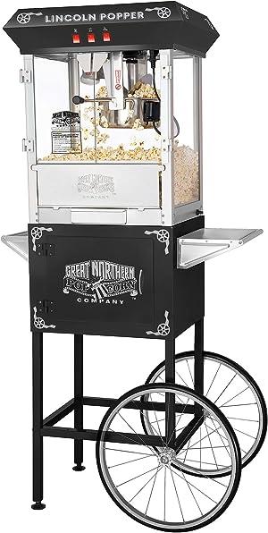 6005 Great Northern Black Antique Style Lincoln Popcorn Popper Machine w/Cart 8 Oz