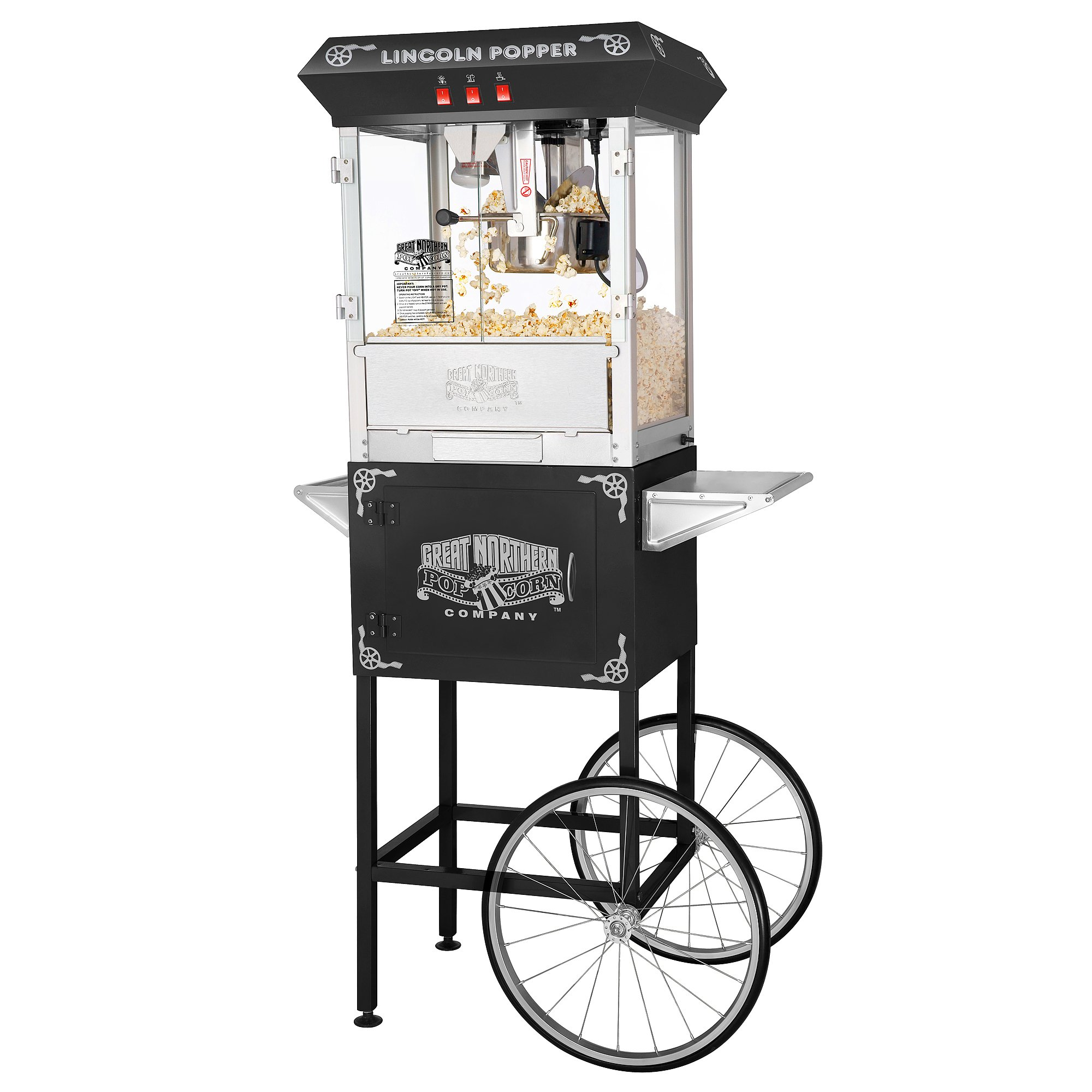 6005 Great Northern Black Antique Style Lincoln Popcorn Popper Machine w/Cart 8 Oz by Great Northern Popcorn Company