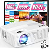 WiFi Projector, Full HD Native 1080P Projector 7500Lumens LCD Projector for Outdoor Movies, Wireless Mirroring/4K/Smartphone/
