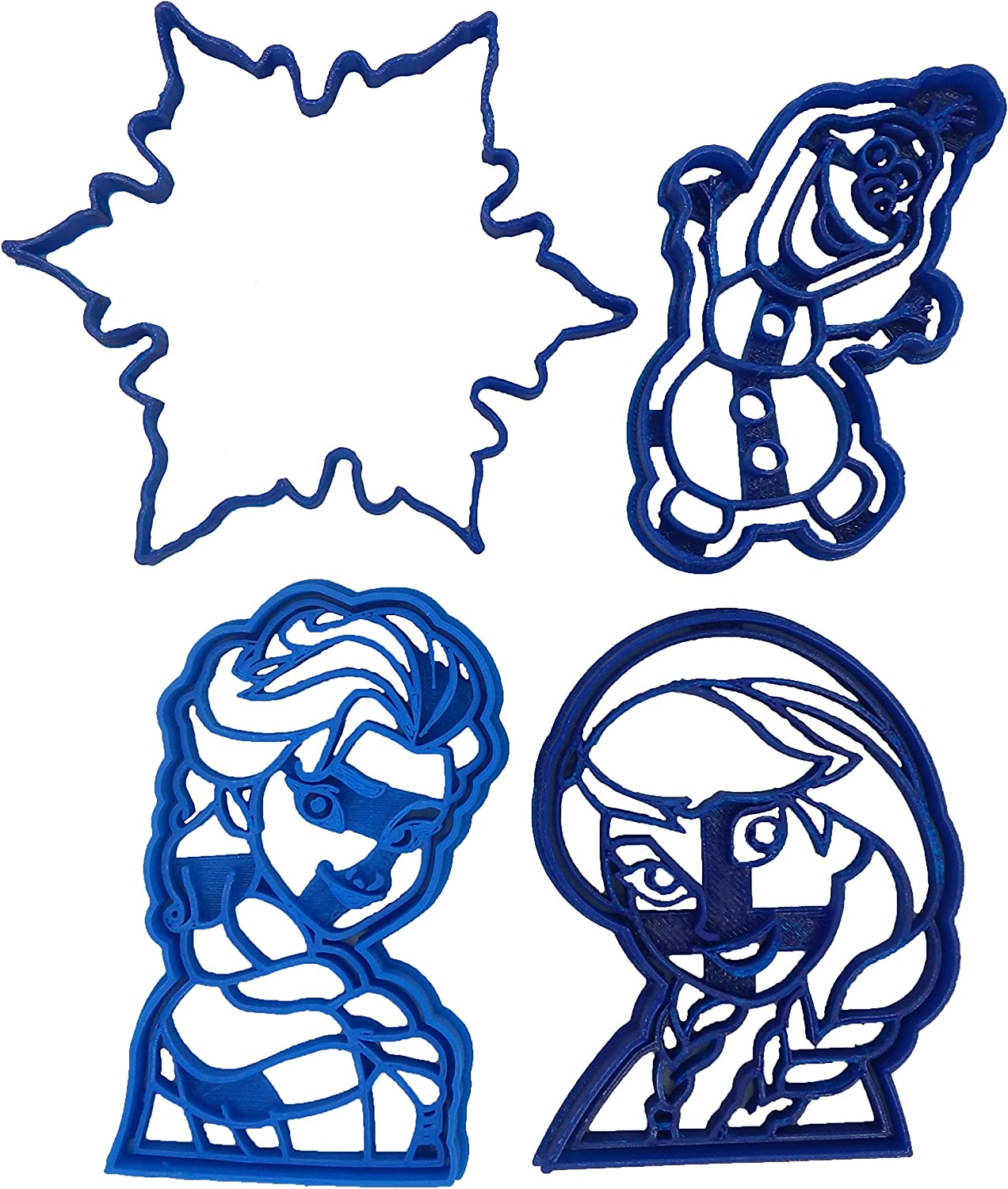Frozen Anna, Elsa, Olaf and Snowflake Outline Cookie Cutters (4 Pack)
