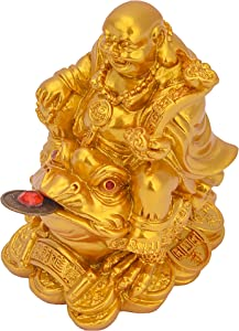 YODOOLTLY Feng Shui Laughing Buddha, Wealth Laughing Buddha Sit on Money Frog Statue Lucky Toad Car Ornaments Home Office Decoration (Gold)