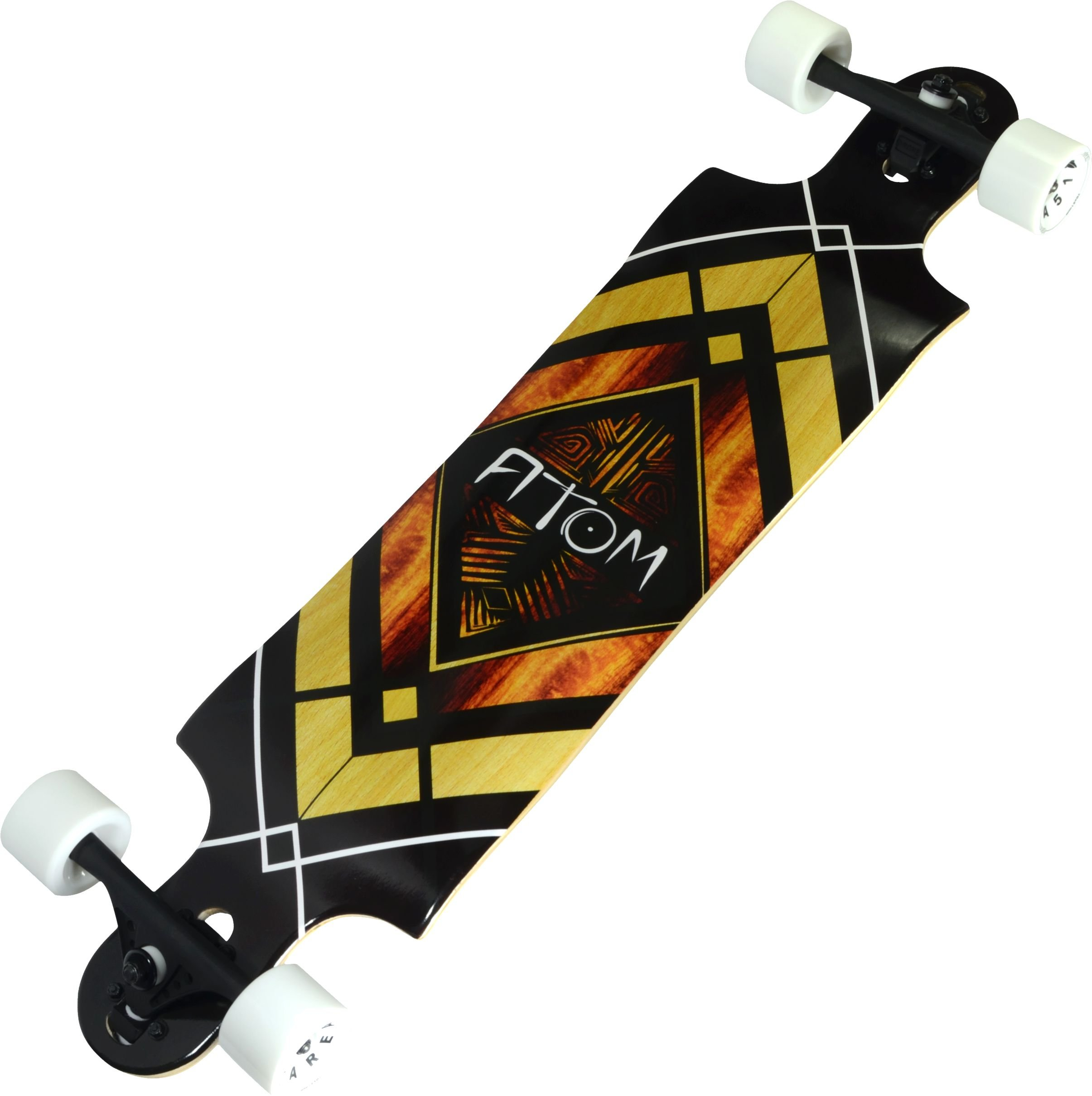 Atom Longboards Drop Through Longboard - Double Drop - 38'' , Woody Diamond