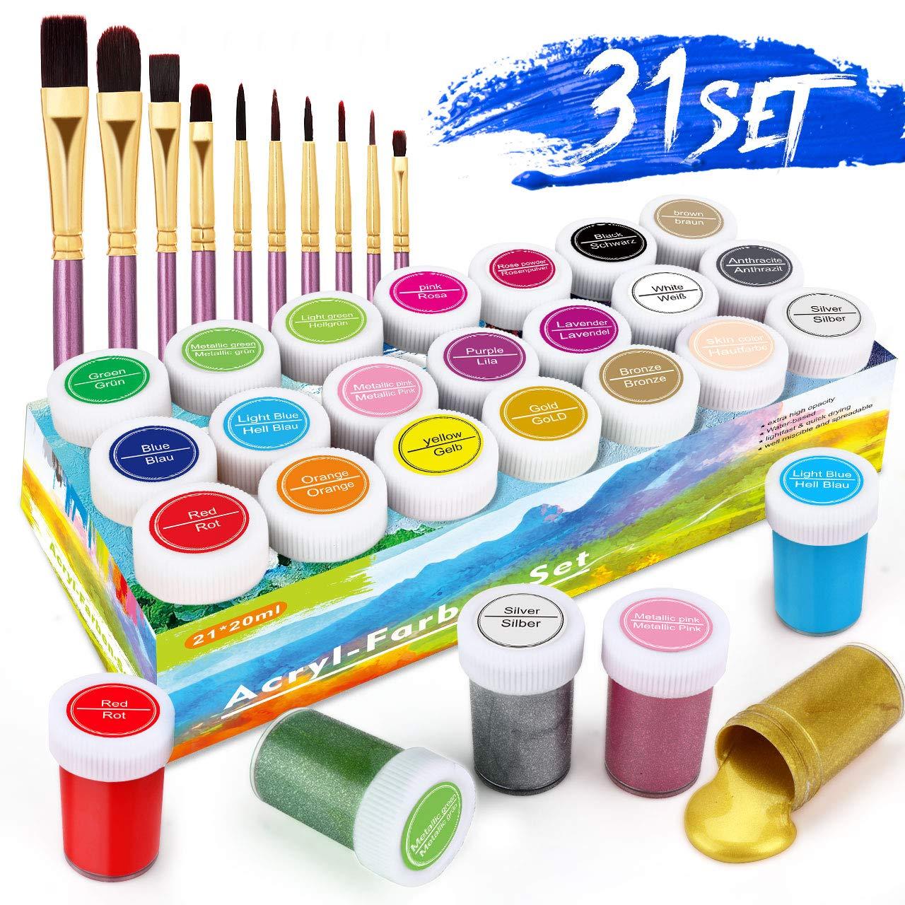 RATEL Zestaw farb akrylowych Premium 31 kolorowych farb akrylowych z 21 x 20 ml pigmentu + 10 pisaków pędzelkowych