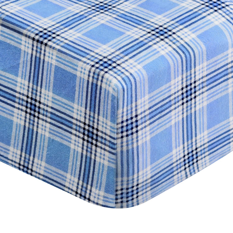 EnvioHome 160 Gram Flannel 4 Pc Sheet Set Full Blue Plaid
