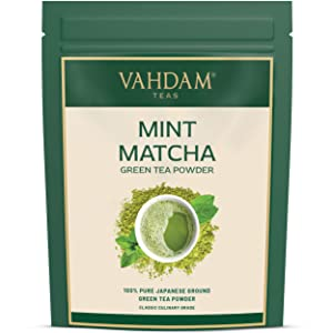 VAHDAM, MINT + MATCHA Green Tea Powder - Brew Delicious Mint Matcha Latte | POWERFUL SUPERFOODS BLEND | Pure Japanese Matcha Powder with 100% Natural Mint 137x ANTI-OXIDANTS, 1.76oz (25 Servings)