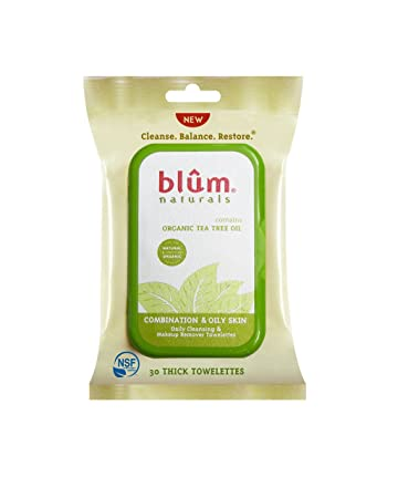 Blum Naturals Organic Tea Tree Oil Towelettes - 30 Towelettes - Pack of 3 Essential Daily Defense Creme Spf 20, 1.75 Fluid Ounce By Exuviance