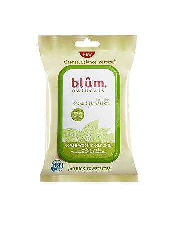 Blum Naturals Organic Tea Tree Oil Towelettes - 30 Towelettes - Pack of 3 4 Pack - Humphreys Witch Hazel Redness Reducing Toner, Cucumber 8 oz