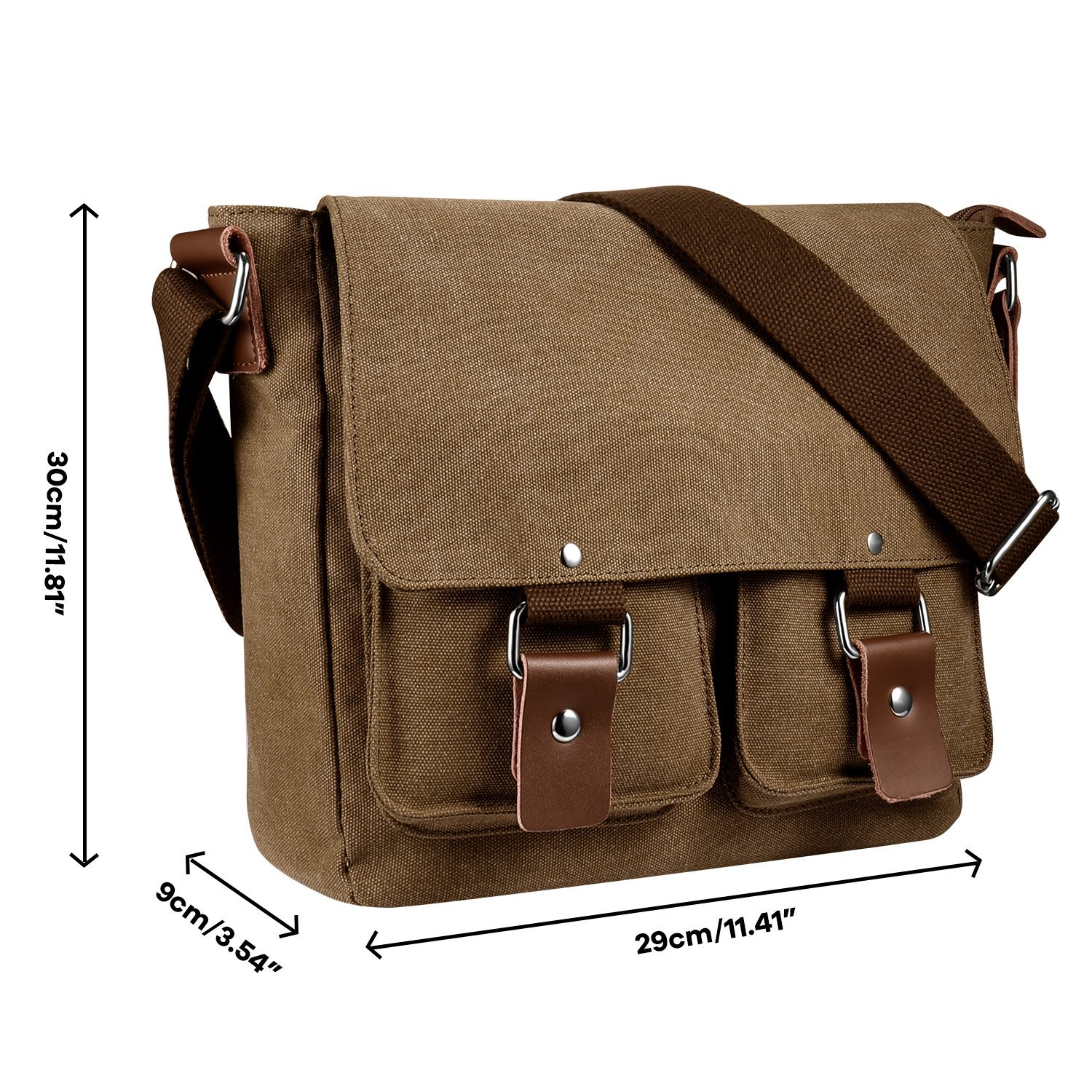 b4af8e2ba46 Amazon.com  Men s Multifunctional Vintage Canvas Leather Messenger Bag  EXKOKORO, Crossbody Side Travel Bag(Brown)  Computers   Accessories