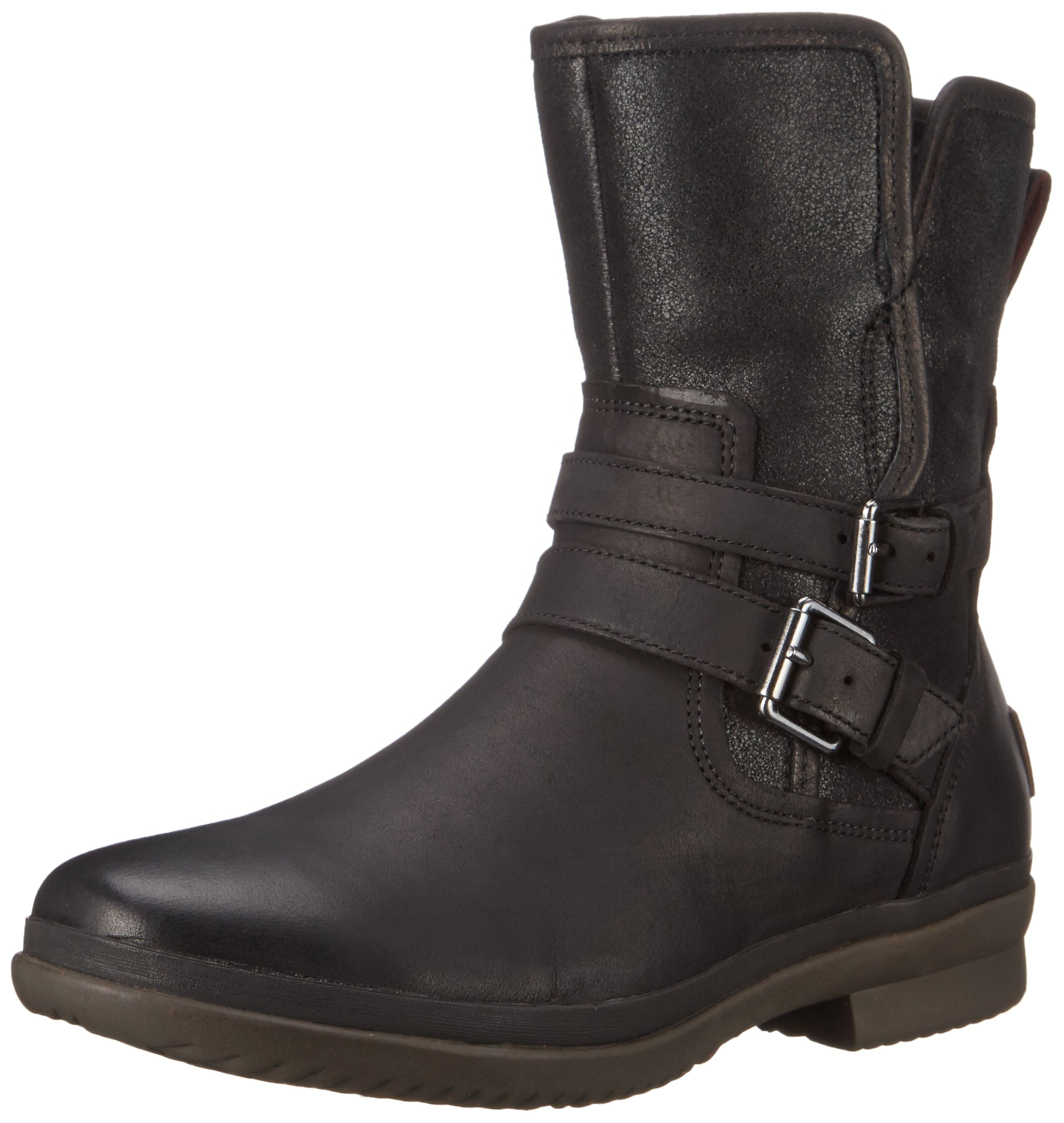 UGG Women's Simmens Leather Rain Boot, Black Leather - 7.5 B(M) US