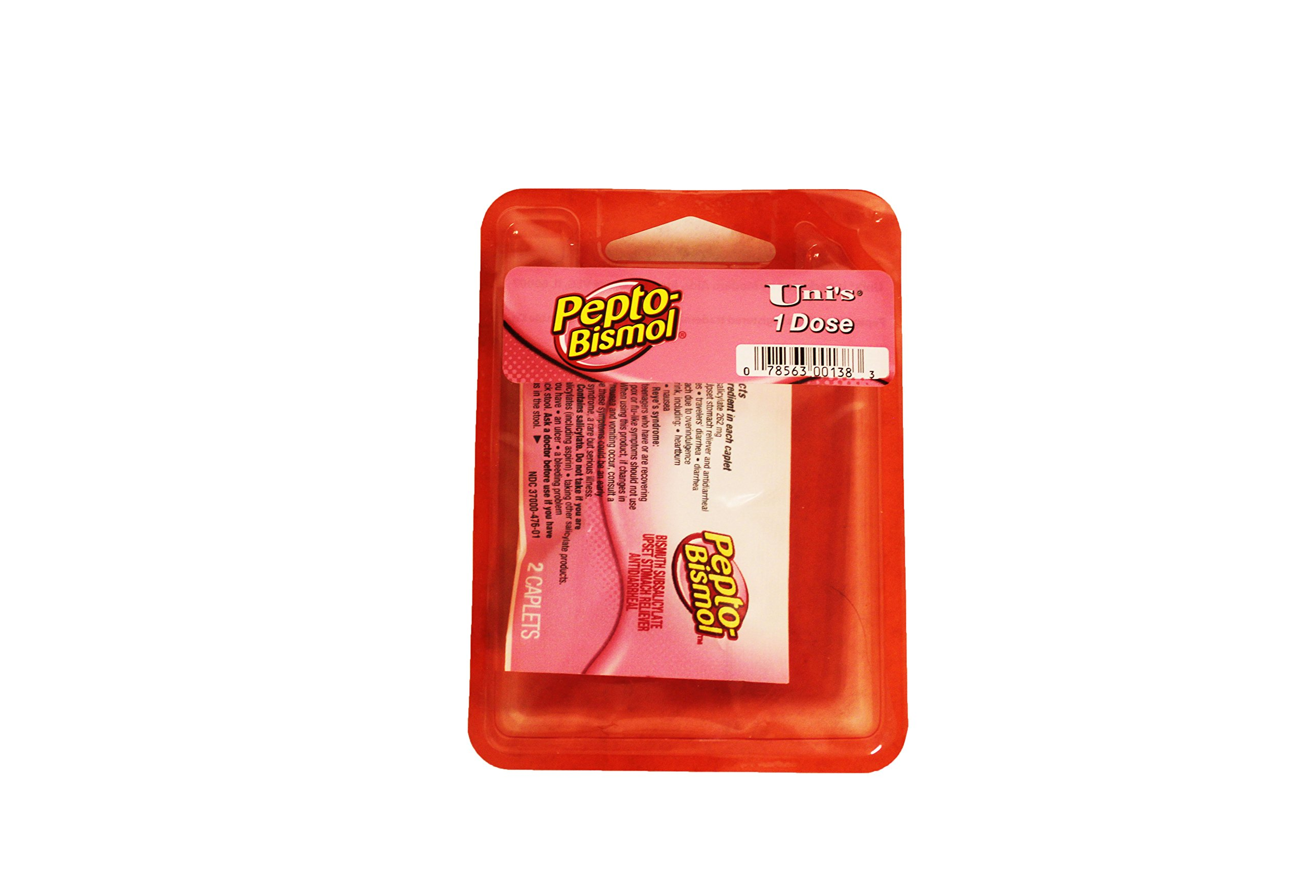 Pepto Bismol 6PK (2 Caplets Per Pack) Perfect for Travel and On-The-Go! Relieves Travelers' Diarrhea, Diarrhea and Upset Stomach, Including: Heartburn, Indigestion, Bloating, and Gas