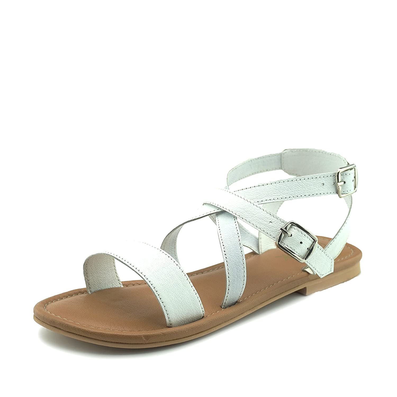 Kick Footwear Donna Comfort Estivo, Sandali di Cuoio Strappy Vacanza Scarpe Bianco
