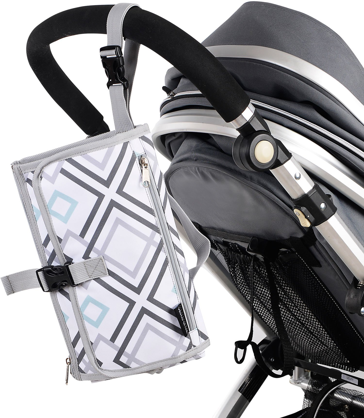 Portable Baby Changing Mat - Large Waterproof Diaper Changing Station - Padded Travel Pad with Head Cushion, 3 Pockets, Multi-Color by Vescoware (Image #7)