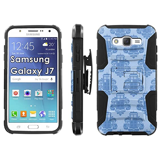 Samsung Galaxy J7 Phone Cover Tardis Wallpaper Black Blitz Hybrid Armor Case For