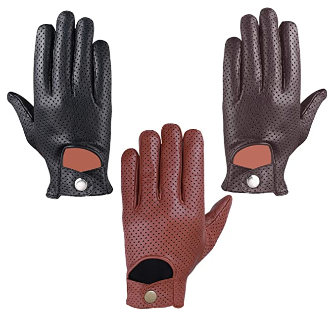 Premium Dress Gloves Retro Style Sheep Leather Mens Vintage Driving Chauffeur