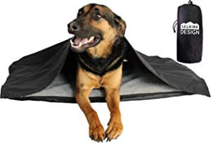 Portable, Inflatable Dog Travel Bed. Great for Camping, Backpacking, Hiking, Car Seat -For All Outdoor Dog Activities. Sherpa Faux Wool Top & Puncture Protective Material. Comes with a Blanket by Mojo