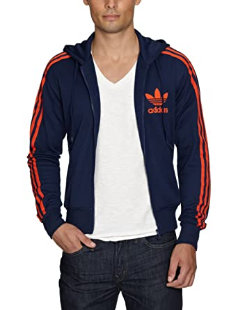 adidas Originals Navy Orange Mens Adi Hooded Flock Zip Track Top Hoody Size  XL 63282dc37c