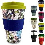 Morgenheld ☀ Ton gobelet tendance en bambou | tasse de café à emporter | gobelet de café durable en silicone et banderole au design tendance, 400 mL (Wave)