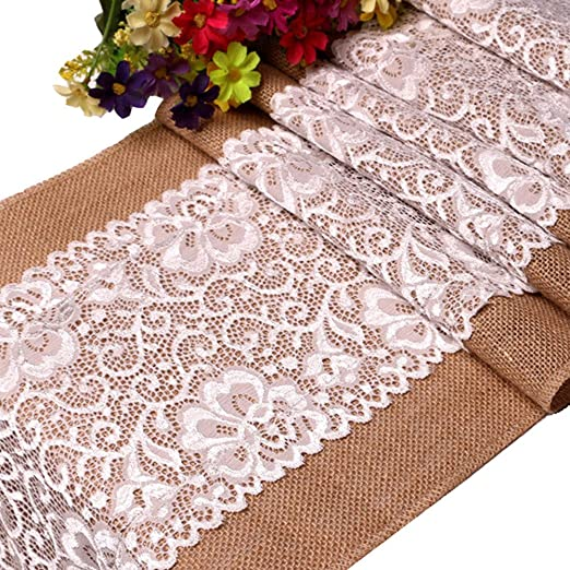 Affe Vintage Lace Mantel Camino de mesa lino yute de arpillera de ...