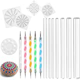Whaline 18 Pieces Mandala Rock Dotting Tools Art Painting Tools Set, Including 4 Style Mandala Stencils, 8 Sizes Acrylic Rods, Paint Tray and 5 Pieces Double Sided Dotting Tools
