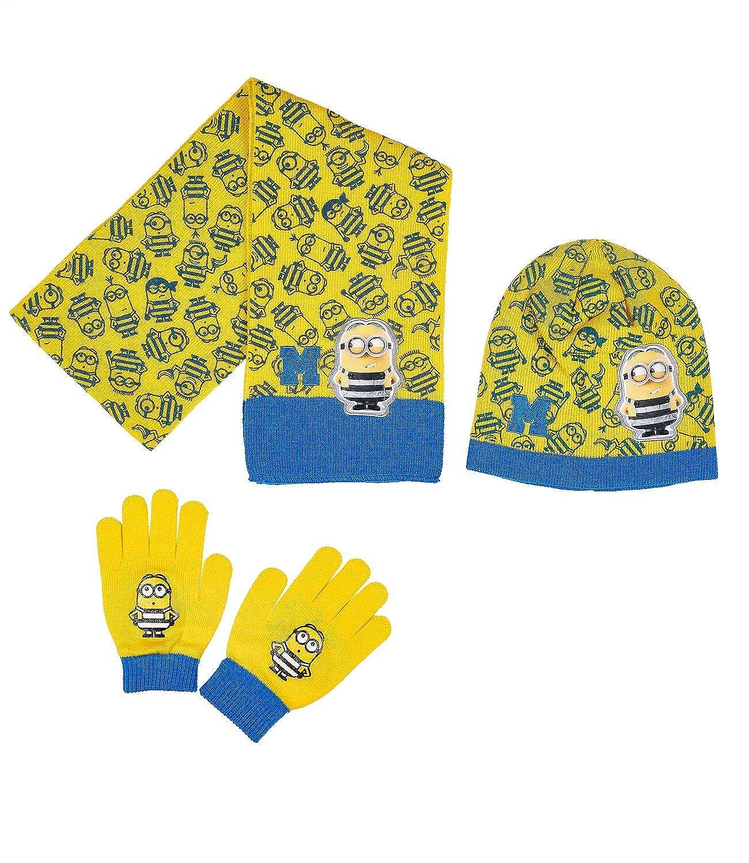 Minions Despicable Me Ragazzi Confezione da 3 pezzi: sciarpa, berretto e guanti - giallo