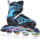 ITurnGlow Adjustable Inline Skates for Kids and Adults, Roller Skates with Featuring All Illuminating Wheels, for Girls and B