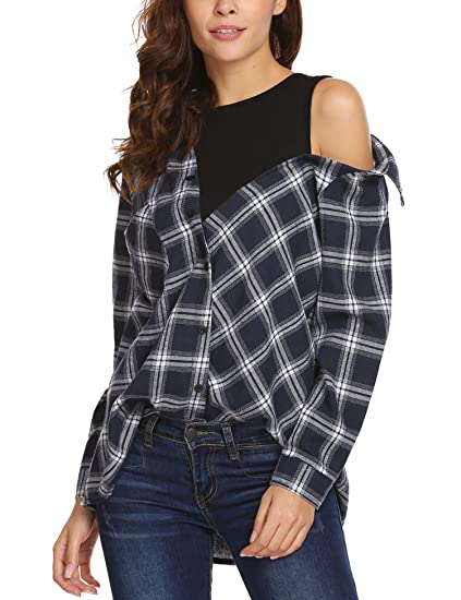 8504760e3bc1b Zeagoo Women Fake Two Piece Long Sleeve Casual Crop Top Patchwork Plaid  Button Shirts