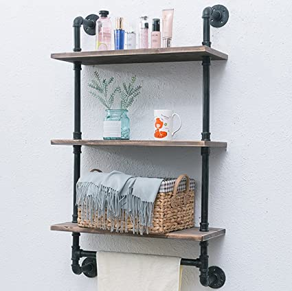 Industrial Pipe Bathroom Shelf, Unit 3 Tiered 24\