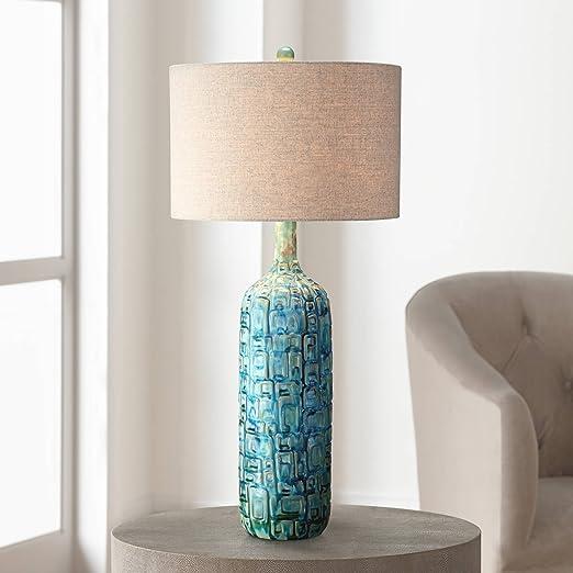 Mid Century Modern Table Lamp Ceramic Tiled Teal Tall Tan Linen Drum Shade  for Living Room Family Bedroom - Possini Euro Design
