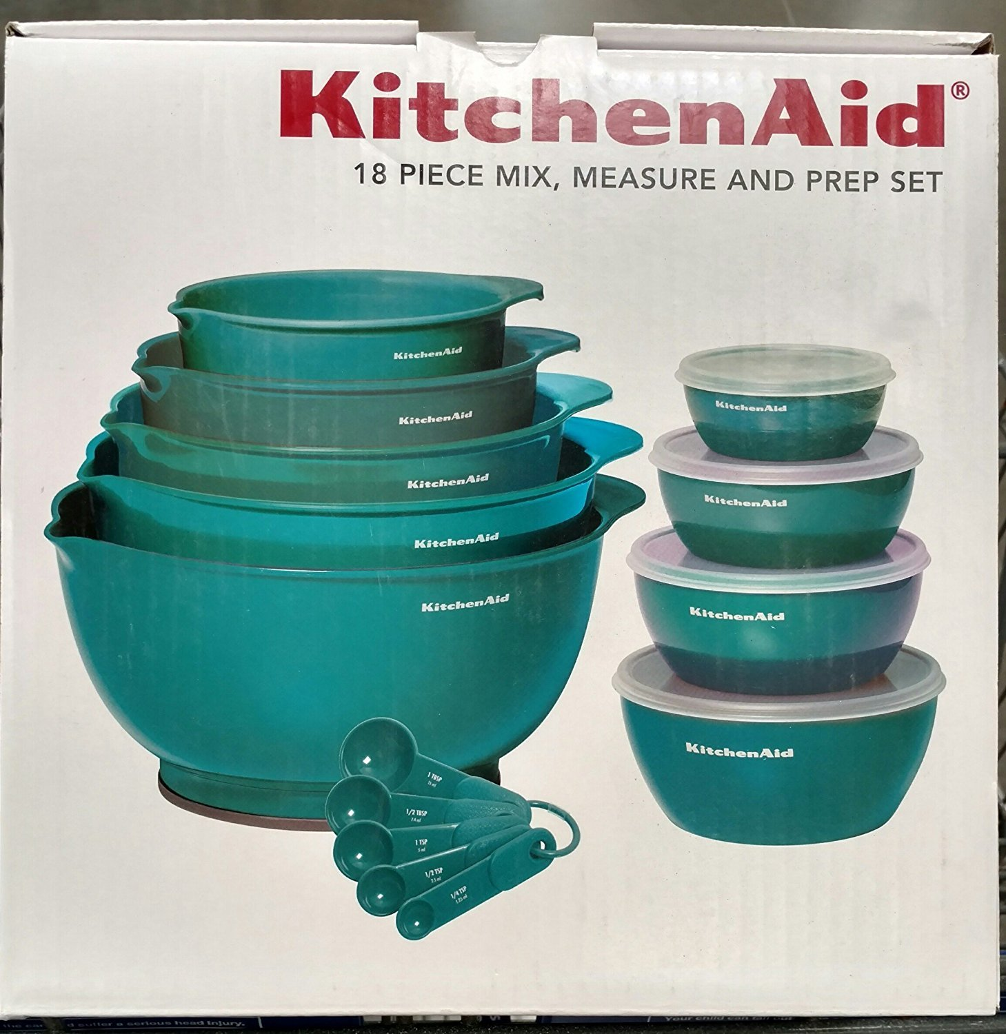 KitchenAid 18 Piece Mix, Measure and Prep Bowl Set (Turquoise ...