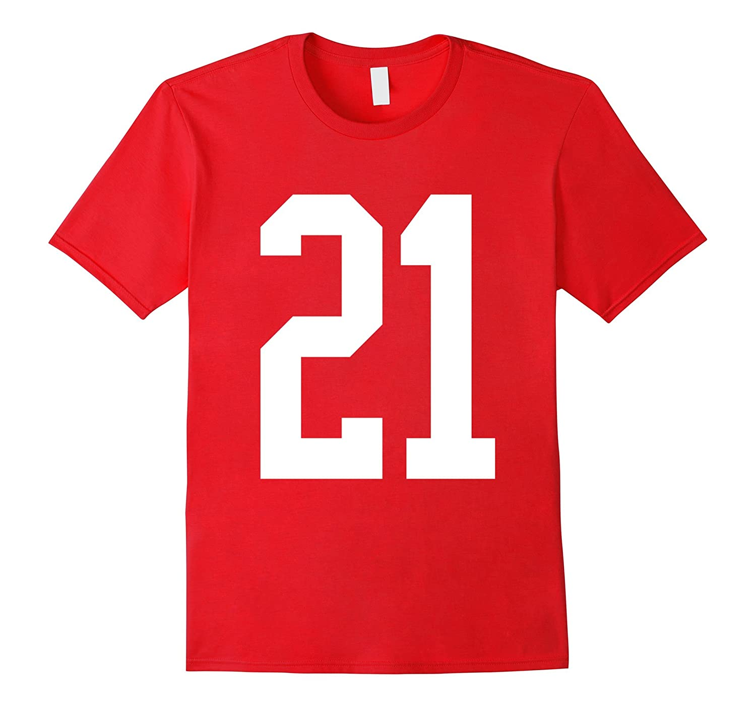 #21 White Number 21 Sports Fan Jersey Style T-Shirt-ANZ