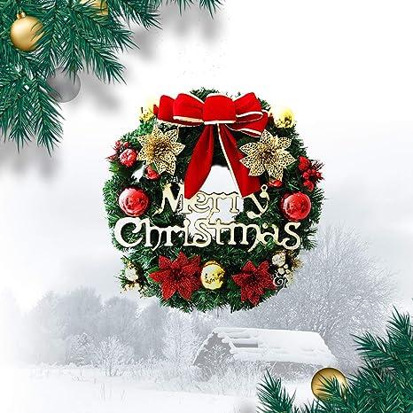"Christmas Artificial Plastic Wreath 12/"" 30cm Decorated Gold Poinsettia"