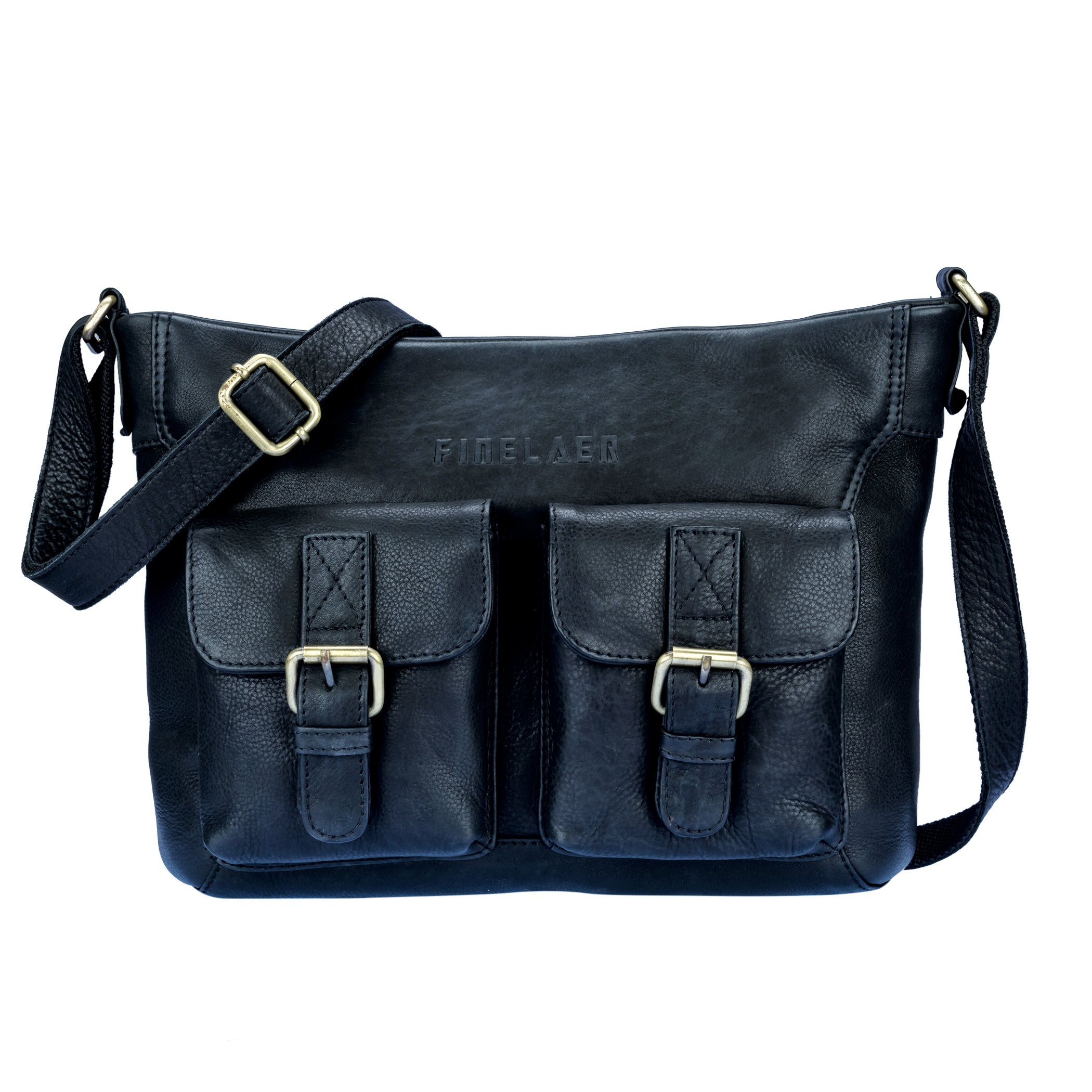 Women Vintage Leather Saddle Crossbody Bag with Front Pockets Black | Finelaer
