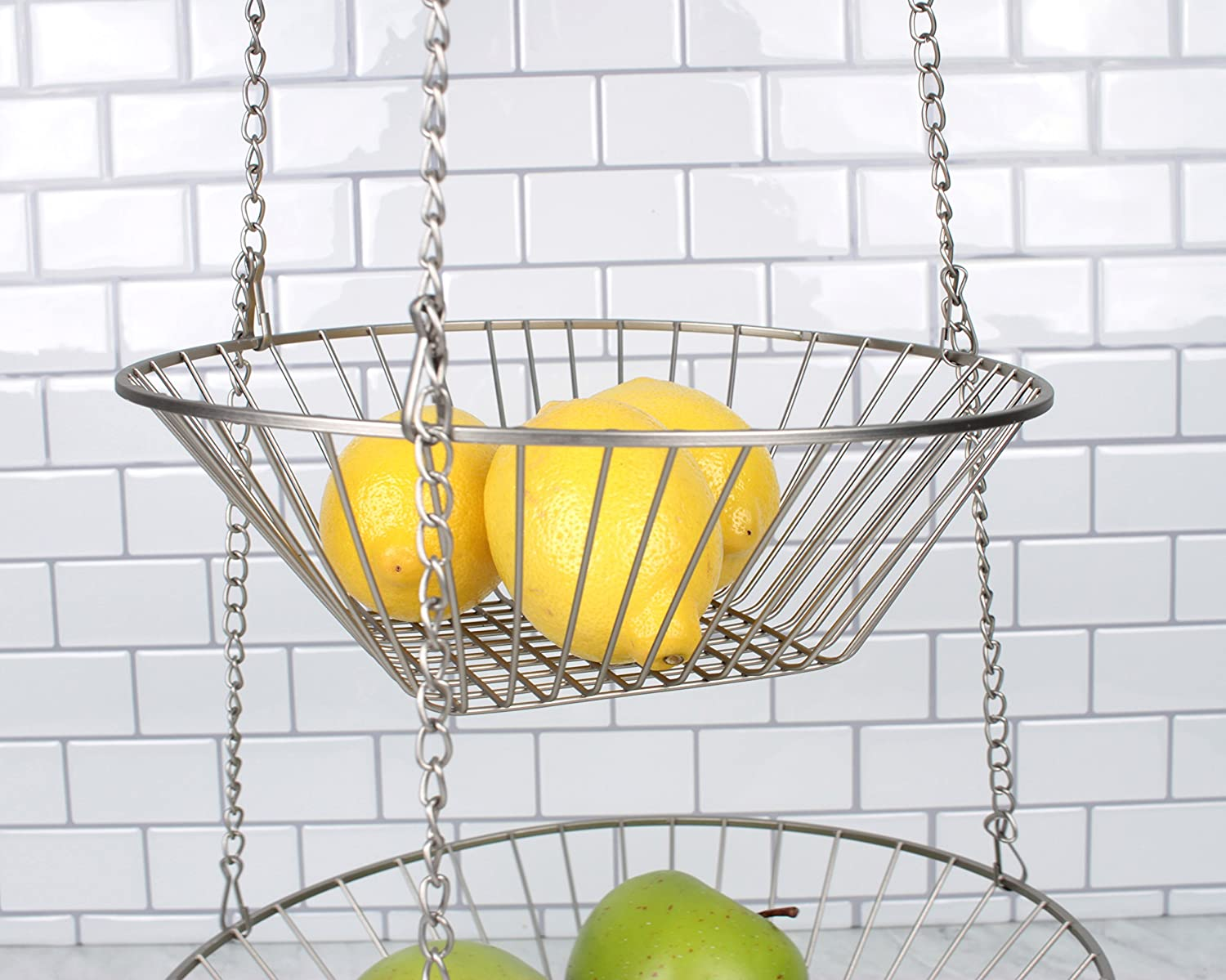 Amazon.com - 3 Tier Satin Nickel Hanging Vegetable Basket - Kitchen ...