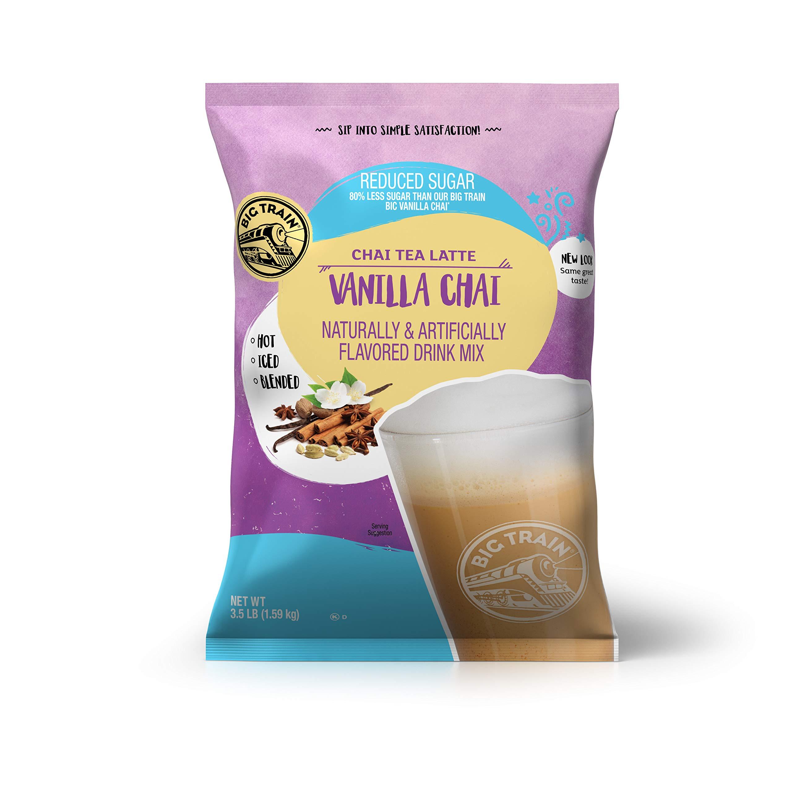 Big Train Chai Tea Latte, Reduced Sugar, Vanilla Chai, 56 Ounce, Powdered Instant Chai Tea Latte Mix, Spiced Black Tea with Milk, For Home, Cafe, Coffee Shop, Restaurant Use