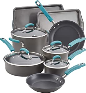 Rachael Ray Brights Hard Anodized Nonstick Cookware/Pots and Pans Set, 12 Piece, Gray with Agave Blue Handles