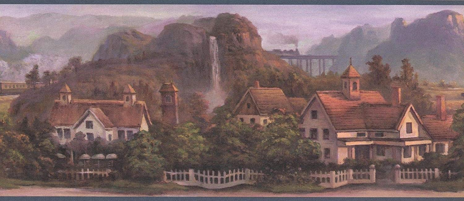 Concord Wallcoverings Wallpaper Border Featuring Country Side Landscape with European Style Houses and Mountains on The Background, Colors Blue Brown Green, Size 10.25 Inches by 15 Feet 5506860