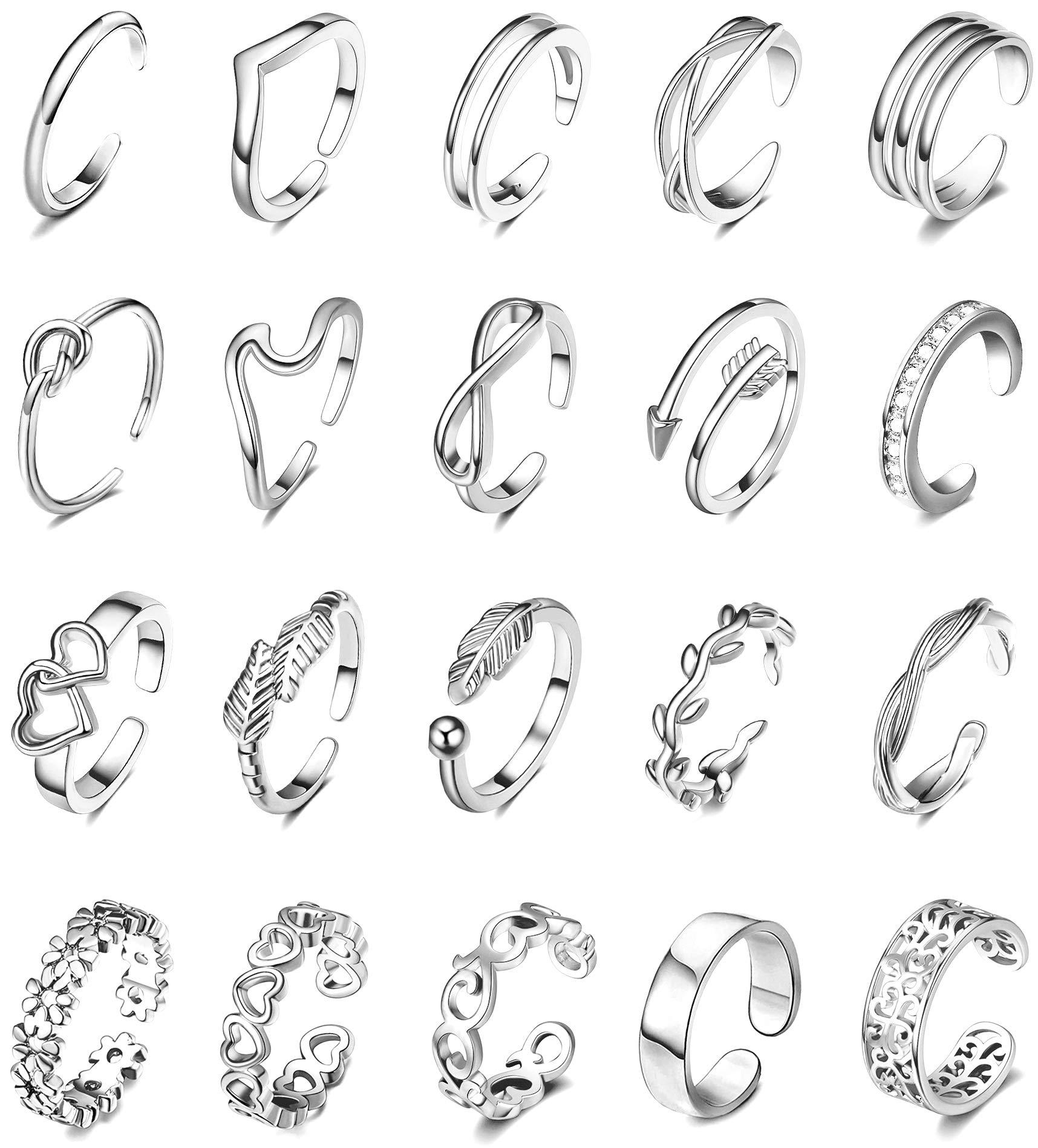 SHIWE 20PCS Adjustable Toe Rings for Women Rose Gold Silver Hypoallergenic Open Toe Ring Set Women Beach Foot Jewelry
