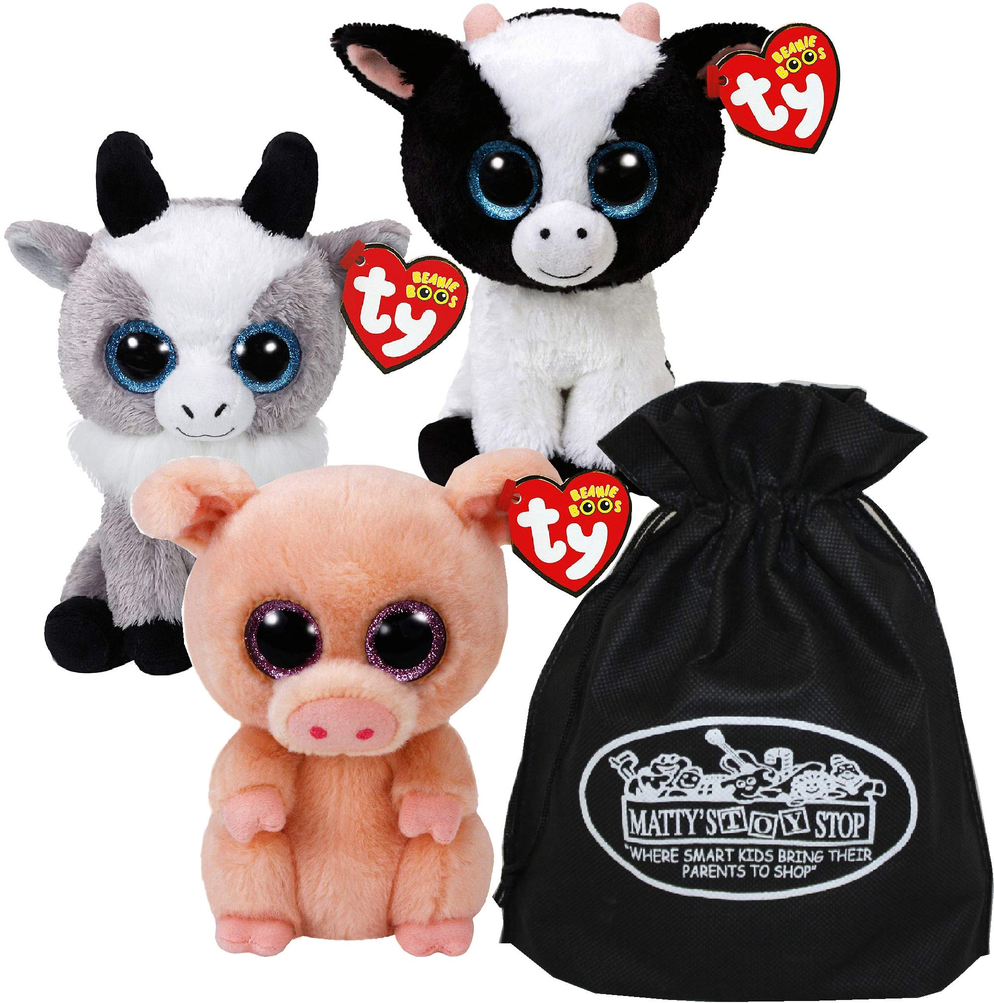 Ty Beanie Boos Butter (Cow), Piggley (Pig) & Gabby (Goat) Gift Set Bundle with Bonus Matty's Toy Stop Storage Bag - 3 Pack by Ty Beanie Boos