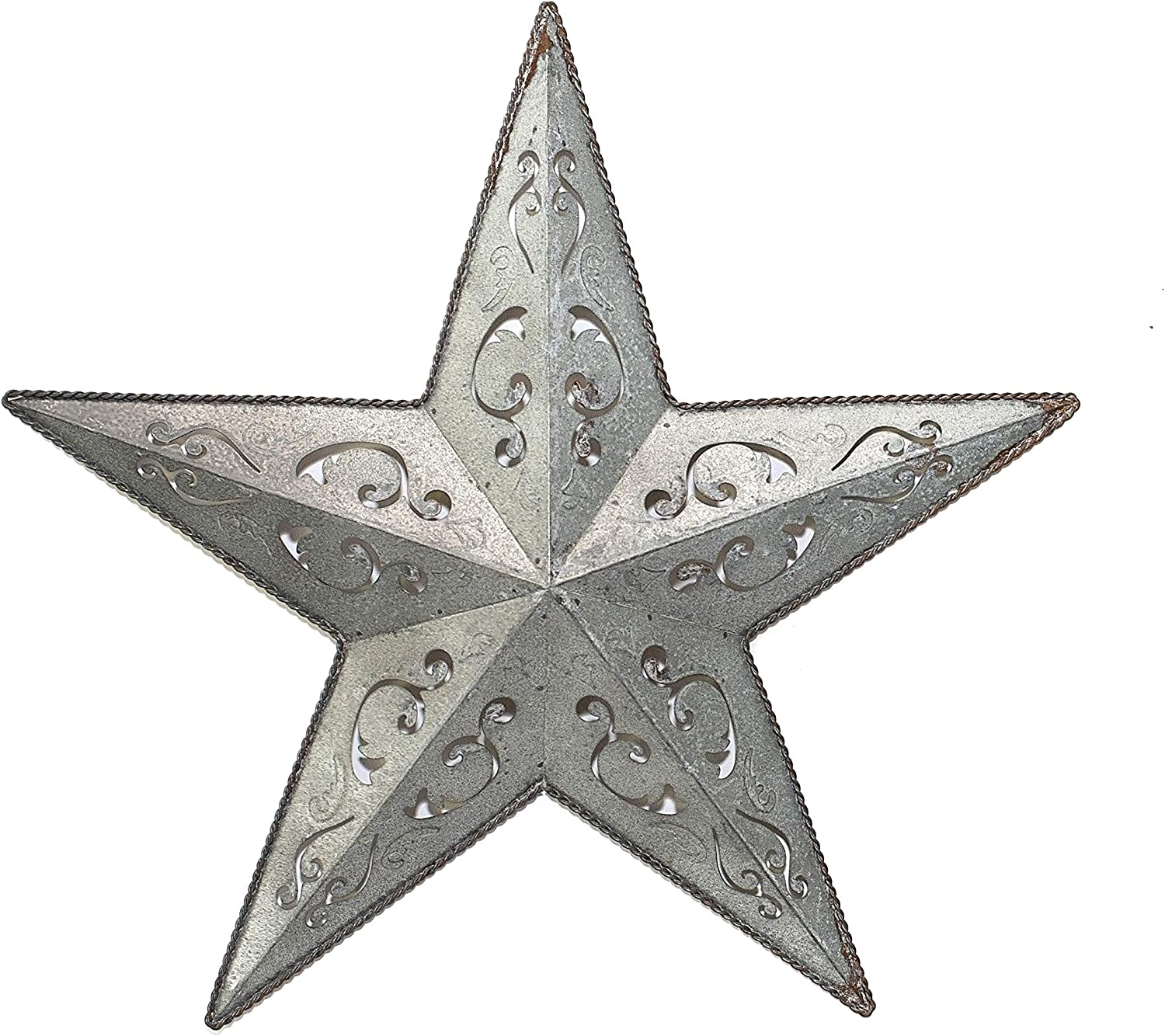 Amazon Com Galvanized Lacy Metal Barn Star 24 Gray Rustic Metal Star Rustic Metal Stars For Metal Wall Decor Rustic Wall Decor Country Outdoor Christmas Metal Star Wall Decor Perfect Home Decor