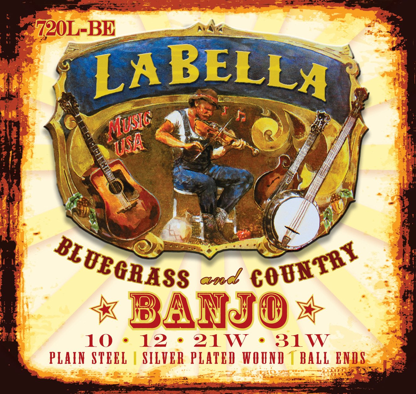 LaBella 720L-LE Tenor Banjo Silk and Steel Banjo Strings, Light