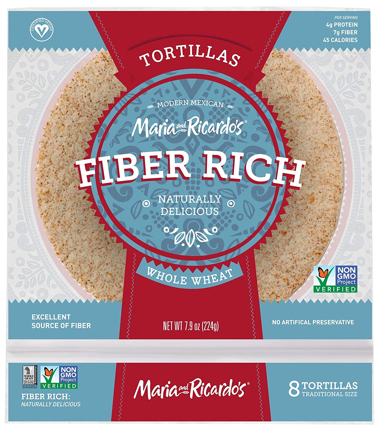 Maria and Ricardos Low Carb Low Fat Tortilla, 6 inch - 8 per pack - 16 packs per case.